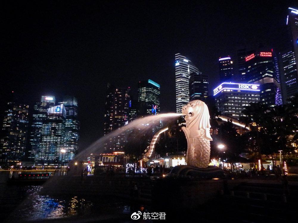 新加坡繁华的鱼尾狮夜景